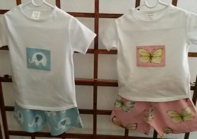 T-shirt and shorts Blue Elephant and Butterfly design