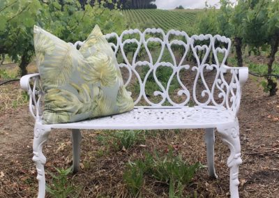 White Petite Bench and Cushion Close up